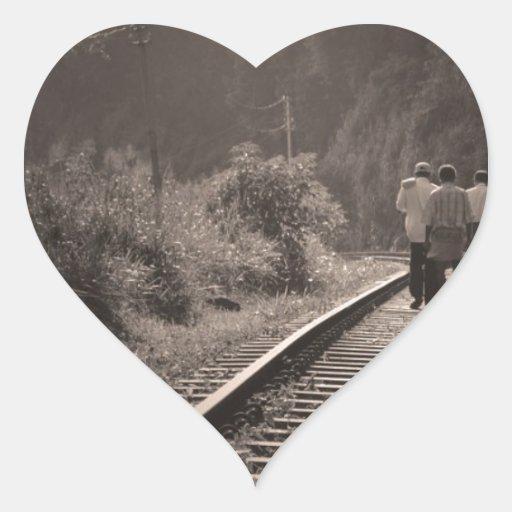 Pistas de ferrocarril colcomanias de corazon personalizadas