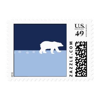 Pistas del oso polar estampilla