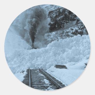 Pistas del tren de la avalancha pegatina redonda