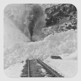 Pistas del tren de la avalancha pegatina cuadrada