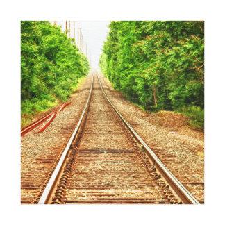 Pistas del tren en las maderas impresión en lienzo