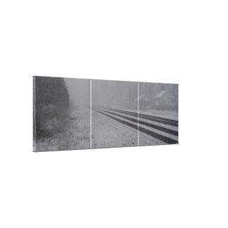 Pistas del tren Nevado Impresión En Lienzo