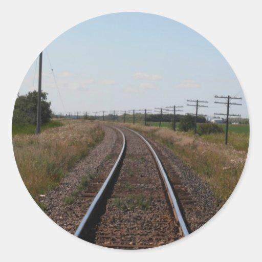 Pistas del tren pegatina redonda