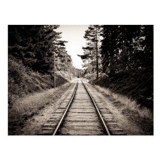 Pistas negras y blancas del tren postal
