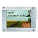 Pistas y travesía rectas de ferrocarril con un tarjeta de felicitación