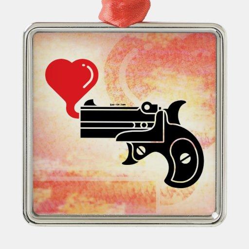 Pistol Blowing Bubbles of Love Metal Ornament