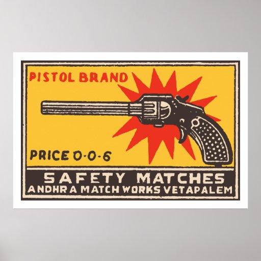 PISTOL BRAND (Indian vintage matchbox cover) Poster