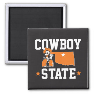 Pistol Pete Cowboy State 2 Inch Square Magnet