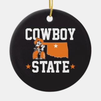 Pistol Pete Cowboy State Ceramic Ornament