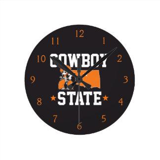 Pistol Pete Cowboy State Round Clock
