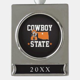 Pistol Pete Cowboy State Silver Plated Banner Ornament