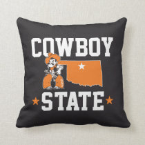 Pistol Pete Cowboy State Throw Pillow