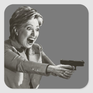 Pistola de Hillary Pegatina Cuadrada