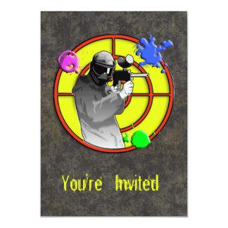 """Pistola de neón radiactiva de Paintball Invitación 5"""" X 7"""""""