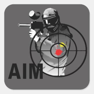 Pistola de Paintball - objetivo Calcomanías Cuadradas