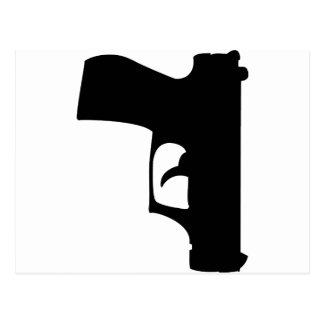 pistola negra abajo postal