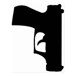 pistola negra abajo tarjeta postal