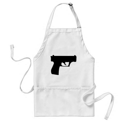 pistola negra - arma delantales