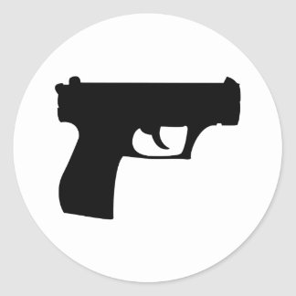 pistola negra - arma pegatina redonda