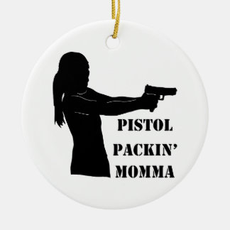 Pistola Packin Momma Adorno Navideño Redondo De Cerámica