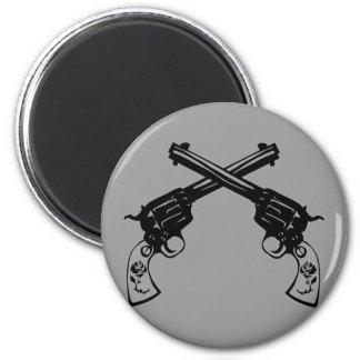 Pistolas cruzadas retras imán redondo 5 cm