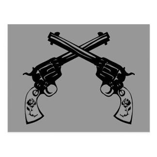 Pistolas cruzadas retras postal