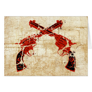 Pistolas cruzadas retras tarjeta de felicitación