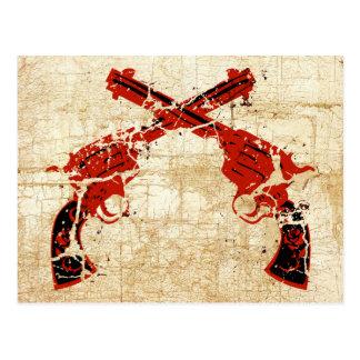Pistolas cruzadas retras tarjetas postales