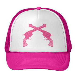 Pistolas cruzadas rosa retro gorro de camionero