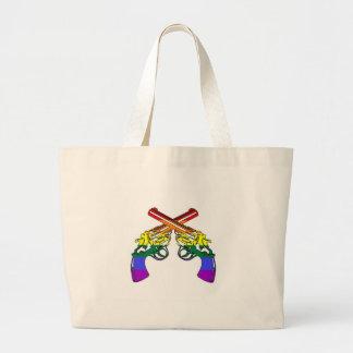 Pistolas del orgullo del arco iris bolsa tela grande