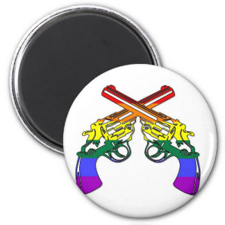 Pistolas del orgullo del arco iris imán redondo 5 cm