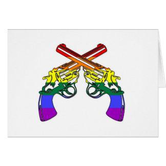 Pistolas del orgullo del arco iris tarjeta de felicitación