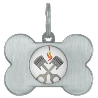 Piston Flames Pet Tag