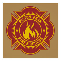 Piston Peak Fire & Rescue Badge Poster