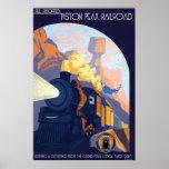 Piston Peak Railroad Illustration Poster