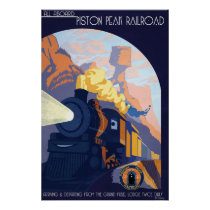 Piston Peak Railroad Illustration Poster