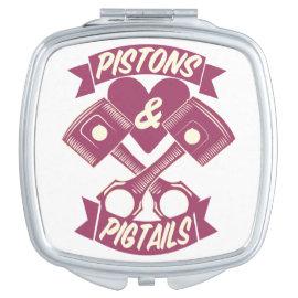 Pistons & Pigtails Hand Mirror Makeup Mirror
