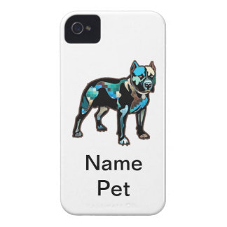 Pit Bull Abstract Design Pet Dog Add Name Text iPhone 4 Case-Mate Cases