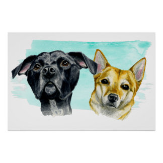 Pit Bull and Shiba Inu Watercolor Painting Poster