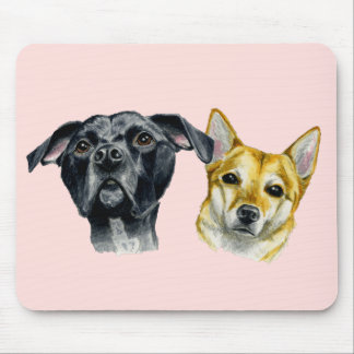 Pit Bull and Shiba Inu Watercolor Portrait Mouse Pad