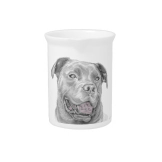 Pit Bull Art Drawing Beverage Pitcher