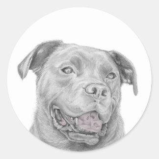 Pit Bull Art Drawing Classic Round Sticker