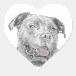 Pit Bull Art Drawing Heart Sticker