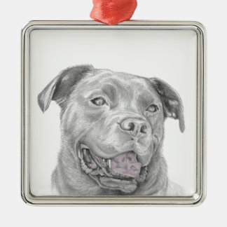 Pit Bull Art Drawing Metal Ornament