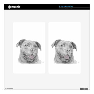 Pit Bull Art Drawing Skins For Kindle Fire