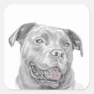 Pit Bull Art Drawing Square Sticker