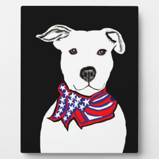 Pit bull art plaque dog wearing American Flag