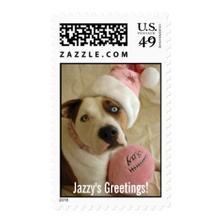 Pit bull as Mrs. Claus Postage Stamp