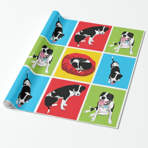 Pit bull at home wrapping paper
