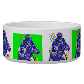 Pit Bull Blue and Green Large Dog Pet Bowl